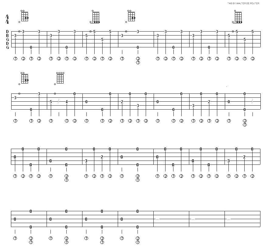 All Music Chords portland sheet music : Derroll Adams banjo techniques by Walter De Peuter | Songs